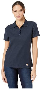 Contractor's Short Sleeve Work Polo (Navy) Women's Short Sleeve Pullover