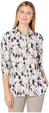 Autumn Leaves Print Blouse with 3/4 Rushed Sleeves (Multi) Women's Clothing