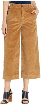 Stretch Cord Wide Leg Crop Trousers (Camel) Women's Casual Pants