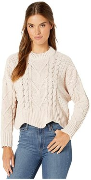 Chenille Cable Knit Sweater (Vision of Light) Women's Clothing