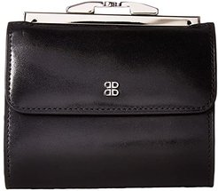 Old Leather 4 French Purse (Black) Handbags