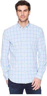 Shaped Fit Performance Plaid Woven Shirt (Sky) Men's Long Sleeve Pullover