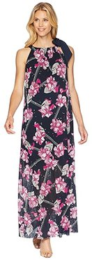 Halter Maxi Dress (Balinese Floral/Ink) Women's Dress