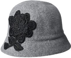 Applique Melton Cloche (Grey) Caps