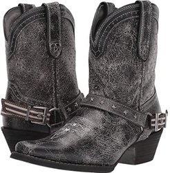 8 Crush Perfed Flag Harness Bootie (Pewter Grey) Women's Boots