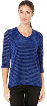 Overlapping V-Neck 3/4 Sleeve Top (Royal) Women's Clothing