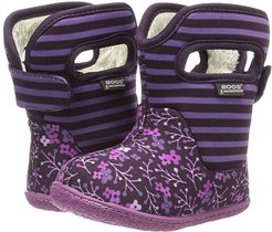 Baby Classic Flower Stripe (Toddler) (Plum) Girls Shoes