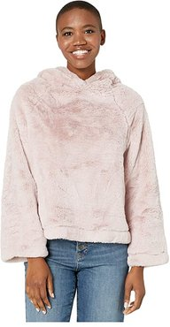 Ultra Lux and Plush Shearling Faux Fur Hoodie (Powder Pink) Women's Clothing