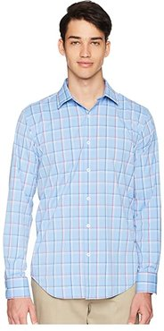 Shaped Fit Long Sleeve Woven Shirt (Classic Blue) Men's Clothing