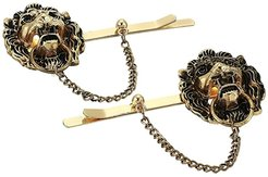 Two-Piece Lion Head Door Knocker Hair Pin (Yellow Gold-Tone) Brooches Pins