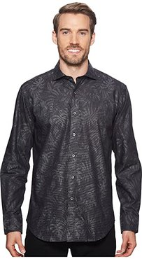 Shaped Fit Palm Fronds Woven Shirt (Black 1) Men's Long Sleeve Button Up