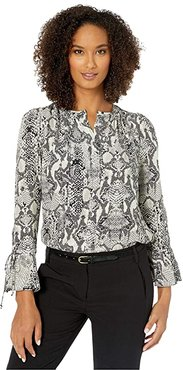 Snakeskin Pullover Shirt with Drawstring Cuff (Ivory/Grey) Women's Clothing