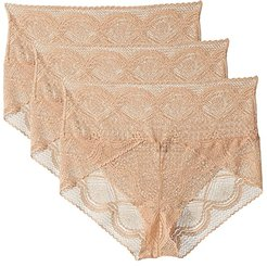 Finesse High-Waist Lace Brief 3-Pack (Warm Nude/Warm Nude/Warm Nude) Women's Underwear