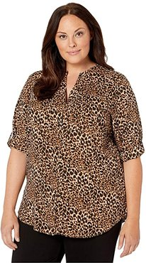 Plus Size Printed Roll Sleeve Blouse (Leopard/Black) Women's Clothing