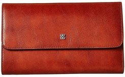 Old Leather Checkbook Clutch (Amber) Clutch Handbags