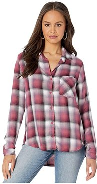 Pocket Button Down (Ombre Berry) Women's Long Sleeve Button Up