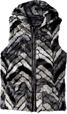 Chevron Fur Hood Vest (Black Grey) Women's Vest