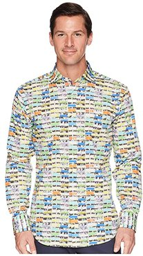 Shaped Fit Long Sleeve Woven Shirt (Candy) Men's Clothing
