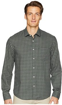 John T Gingham Shirt (Charcoal/Green) Men's Long Sleeve Button Up