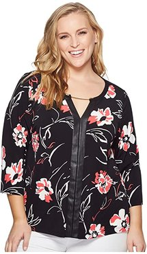 Plus Size 3/4 Sleeve Print Top with Hardware (Black/Watermelon/White) Women's Long Sleeve Pullover