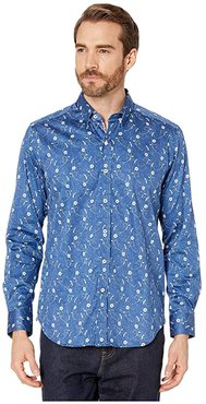Hawkesworth Tailored Fit Sport Shirt (Blue) Men's Clothing