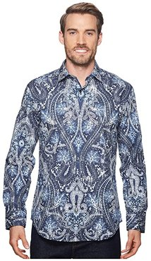 Shaped Fit Paisley Woven Shirt (Midnight) Men's Clothing