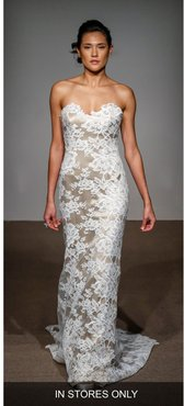 Collette Strapless Silk & French Lace Gown, Size - Ivory