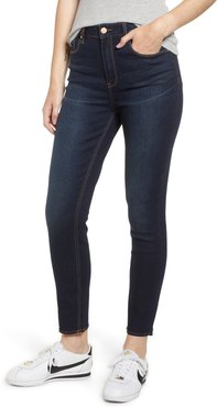 High Waist Ankle Skinny Jeans, Size 17 - Blue
