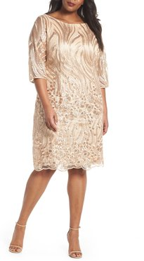 Plus Size Women's Brianna Sequin Embroidered Lace Sheath Dress, Size 20W - Beige