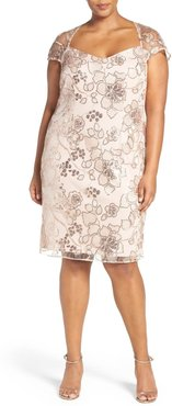 Plus Size Women's Brianna Embellished Embroidered Lace Cocktail Dress, Size 14W - Beige