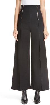 Zipper Detail Wide Leg Pants