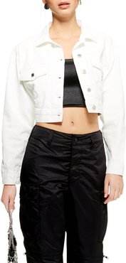 Classic Crop Denim Jacket, Size 6 US (fits like 2-4) - White