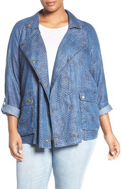 Plus Size Women's Tart 'Syden' Double Breasted Chambray Jacket