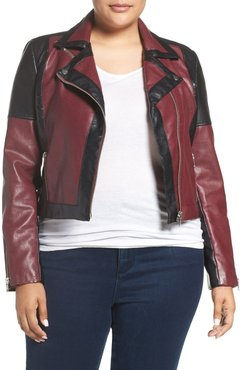 Plus Size Women's Tart 'Justine' Colorbock Faux Leather Jacket