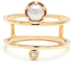 'Reverse Attelage' Double Band Pearl & Diamond Ring