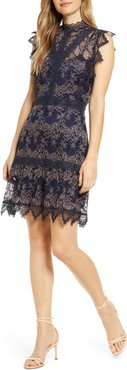 Madeline Mock Neck Lace Cocktail Dress