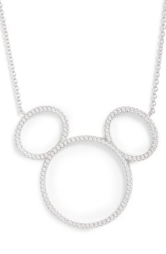 Mickey Mouse Open Silhouette Silver & Crystal Pendant Necklace