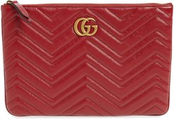 Matelasse Leather Pouch - Red