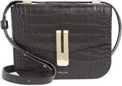 Vancouver Croc Embossed Leather Crossbody Bag - Black