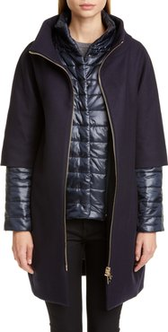 Wool Blend Cocoon Coat With Removable Sleeves & Bib
