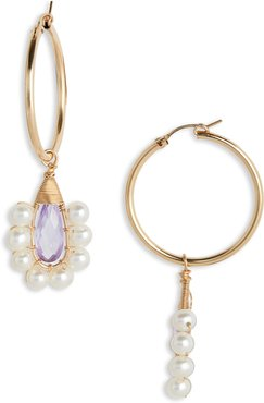 Lavender Lolita Crystal & Freshwater Pearl Hoop Earrings