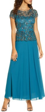 Beaded Mesh Mock Two-Piece Gown