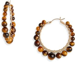 Small Bella Tiger Eye Hoop Earrings