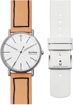 Signature Leather Strap Watch Set, 38Mm