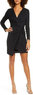 Long Sleeve Ruched Faux Wrap Minidress