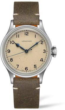 Heritage Military Leather Strap Watch, 38.5Mm