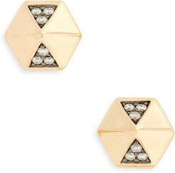 Diamond Hexagon Dome Stud Earrings