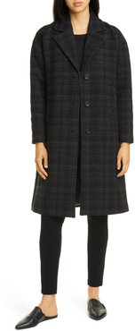 Notch Collar Plaid Organic Cotton & Wool Blend Coat