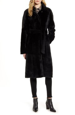 Harley Belted Genuine Shearling Coat