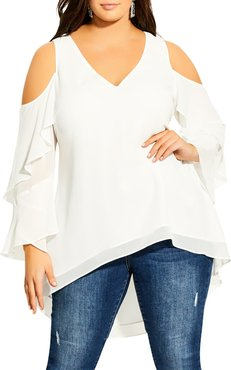 Plus Size Women's City Chic Cold Shoulder Ruffle Sleeve High/low Top